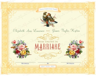 Customized Marriage Certificate