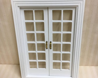 1:12 Dolls House Miniature White Wooden French Doors