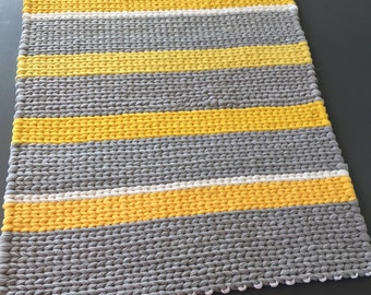 Twined Rug- Yellow, Gray, and White