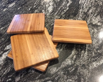 Set of four Bamboo Coasters, wood coasters, drink coasters, wedding gift, birthday gift,