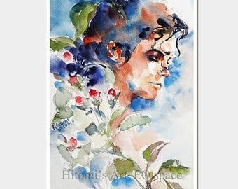 Michael Jackson tribute art. Art Print, Michael Jackson Illustration, MJ, Scream, Michael Jackson printable art, 5x7 inch