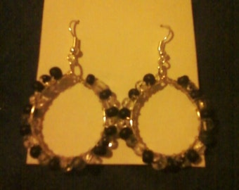 Sterling Silver Black and white beaded earrings