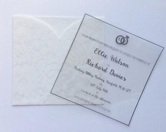 Transparent wedding invitations floral rustic vintage wedding stationery
