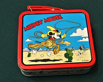 Vintage Mini Metal Tin Lunch Boxes Mickey Mouse