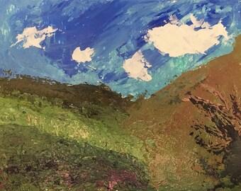 "Overgrown Valley. Original Acrylic Impasto Knife Painting 9""x12"""
