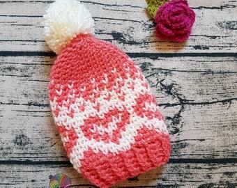 Childrens crochet heart beanie hat