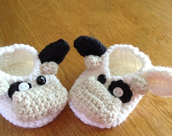 Adorable cow booties. Handmade.