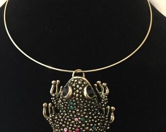 Frogs choker necklace boho frog