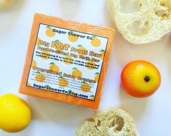 Big FAT Fruit Soap Bar - Double-Sided Big Bath Bar- Oversized Juicy Orange - Solid Sugar Scrub - Soap Bar