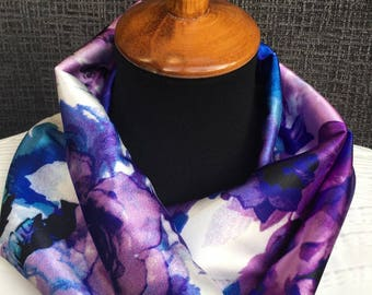 Purple Scarf, Flower Scarf, Patterned Scarf, Watercolor Scarf, Infinity Scarf, Floral Scarf, Unique Scarf, Colorful Scarf, Woman Gift, Cowl