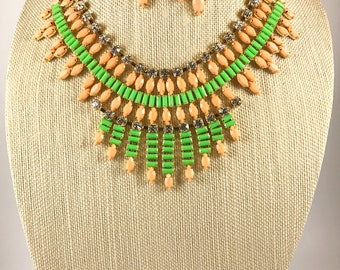 ITEM#06 Neon colors Statement  Necklace