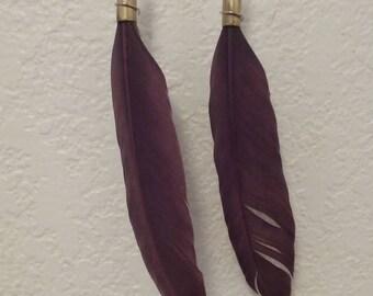 Bulletshell Feather Earrings (maroon)
