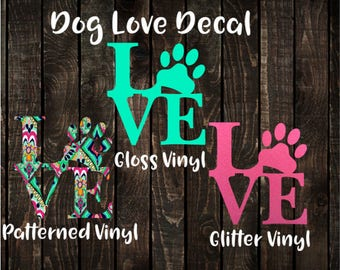 Dog Paw Love Decal, Block Letter Love Decal, Block Letter Dog Paw Car Decal, Dog Paw Phone Decal