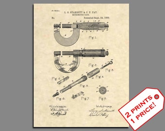Patent Print - Starrett Micrometer Patent Art - Vintage Engineer Office Art - Engineer Wall Art -  Micrometer Patent Poster Antique Tools 91