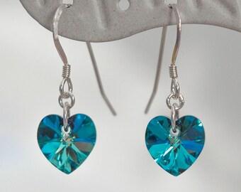 925 Sterling Silver Drop Earrings with Swarovski Elements Bermuda Blue Crystal Heart