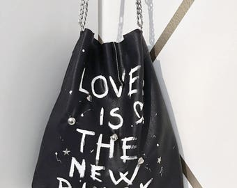 vegan leather shopping bag with print