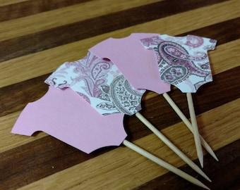Pink Paisley Onesie Cupcake Toppers