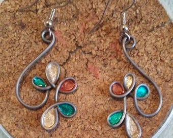 Black wire & faux stained glass earrings