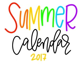 8x10 Summer Calendar Digital Download
