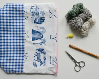Upcycled lettering/gingham vintage fabric cosmetic/knitting crafts notions project bag zippy pouch