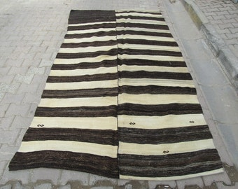 5.5x9.9 Ft Black and white striped vintage handwoven Turkish kilim rug