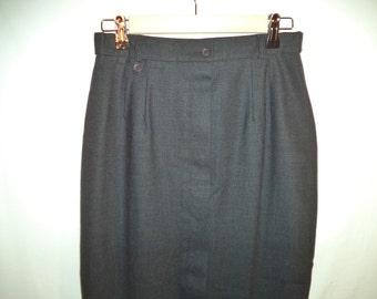 Austin Reed high waist pencil skirt// Vintage 90s classic minimalist charcoal grey worsted wool long// British luxury icon// Women 8 USA