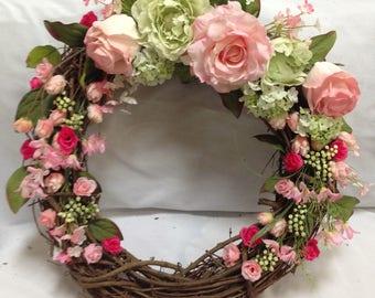 Pink & Green Wreath