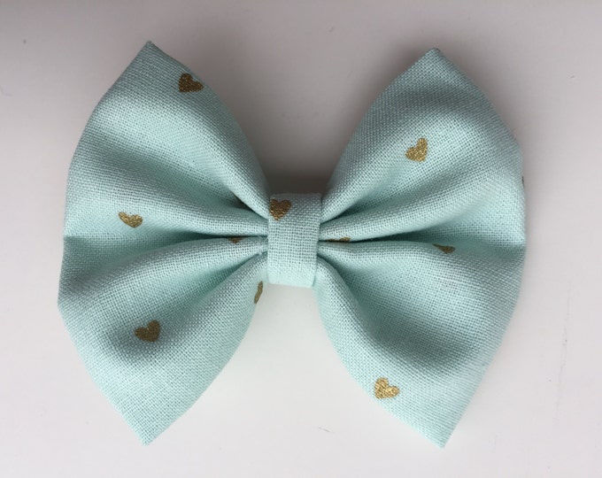 Seafoam Hearts fabric hair bow or bow tie