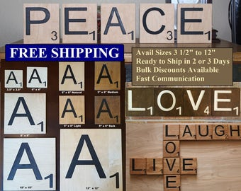 "Scrabble Tiles Large Big Carved Letters 3 1/2"", 4"", 5"" x 6"", 8"", 10"" & 12"" Free Shipping Maple Plywood Letter Tile Oversized"