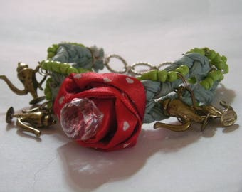 Rose with Crystal & Magic Lamp Charm Braided Bracelet