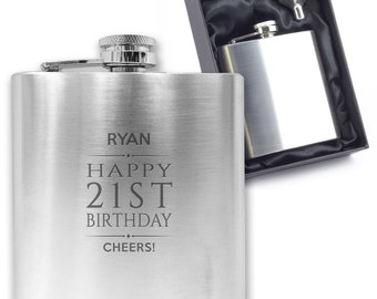 Personalised engraved 21ST BIRTHDAY hip flask gift idea, stainless steel presentation box - BD21