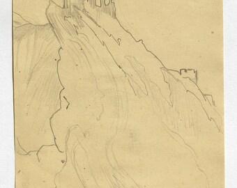TIBET. Original pencil sketch (no1) . Mabel Allington Royds. English artist/printmaker. 1916.  Another listed.