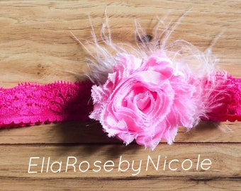 Shabby Chic Headband with Feather, Baby, Baby Headband, Newborn Headband, Children's Headband, Baby Girl Headband, Baby Girl Gift
