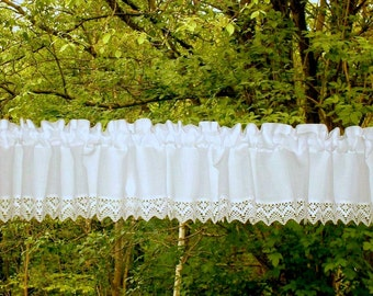 white short curtain with lace cotton