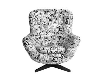 1970's Mid Century Living Room Egg Chair Upholstered in Black and White Fabric.