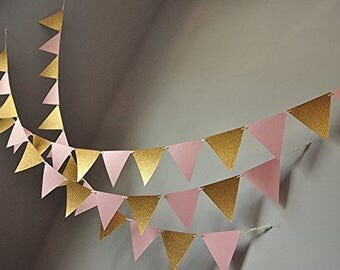 Banner for Pink and Gold Party Decor,Glitter gold and pink,Banner party,Rose Gold Glitter,Triangle Flag Banner,Pennant Banner,Banner Wedding