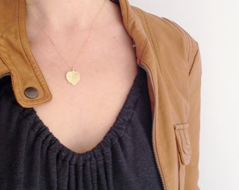 Gold Leaf Necklace, Simple Dainty Necklace, Everyday Necklace, Simple Gold Necklace, Modern Necklace