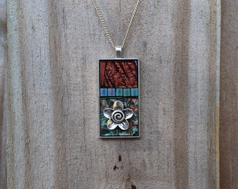 """Beautiful Van Gogh glass pendant/necklace with miyuki tila beads and a charm set in a 1"""" X 2"""" silver-platee bezel."""
