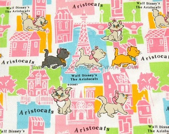 ac019 - 1 Yard Cotton Twill Fabric - Cartoon Characters, The Aristocats Wandering in Paris - Pink Eiffel Tower (W105)