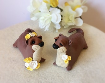 Otter Bride and Groom Clay Wedding Cake Topper- Custom Made to Order