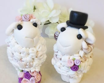 Sheep Bride and Groom Clay Wedding Cake Topper