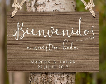 Wooden sign welcome to wedding. Customizable