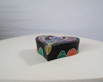 Hand painted heart shaped box black