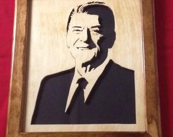 Ronald Reagan Wooden Portrait