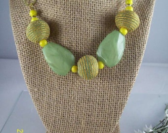 Funky Green and Gold Women's Necklace
