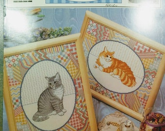 Counted Cross Stitch Leaflet for Tabby Cats / Patchwork Quilt