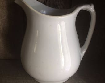 Antique Large White Ironstone Pitcher | English Meakin