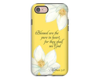 Christian phone case, Matthew 5:8 iPhone case, iPhone 7 case, bible verse iPhone case, scripture iPhone case, Christian Galaxy S8 case