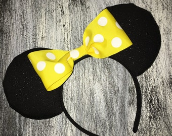 Classic Minnie Yellow and White Dots Disney Ears with Hidden Mickey