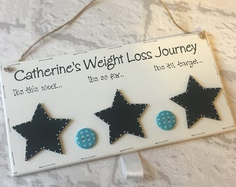 Personalised motivational weight loss journey wooden plaque comes with chalk - perfect for slimming world or weight watchers